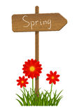 Spring wooden signpost with flowers Royalty Free Stock Photography