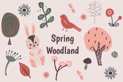 Spring woodland clip art stock illustration