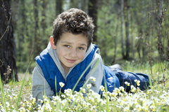 Spring in the woods in the meadow lying a happy boy. Stock Photos