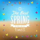 Spring word, Abstract background, paper butterflies - spring the. Me card stock illustration