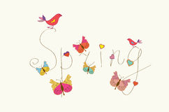 Spring word banner with butterfly Stock Photo