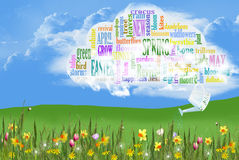 Spring word cloud with flowers Royalty Free Stock Images