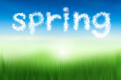 Spring word in cloud texture floating at blur soft nature backgr Stock Photography