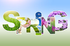 Spring word collage Royalty Free Stock Images