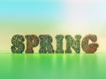 Spring word covered with spring flowers vector illustration