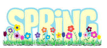 Spring Word with Flowers and Ants Royalty Free Stock Photo
