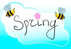 Spring word, flowers and bee vector. Vector EPS. Royalty Free Stock Photo