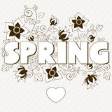 Spring word, flowers and butterfly. Vector Stock Image