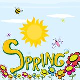 Spring word, flowers and butterfly vector. Vector spring landscape illustration. This is file of EPS8 format Royalty Free Stock Images