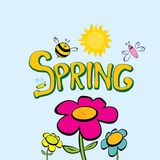 Spring word, flowers and butterfly vector. Vector spring landscape illustration. This is file of EPS8 format Royalty Free Stock Photography