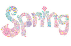 Spring word, flowers . Stock Photo