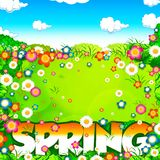 Spring word, flowers meadow and sky Royalty Free Stock Photo