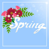 `Spring` Word and flowers. Stock Images