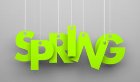 Spring word hanging on a strings Royalty Free Stock Image