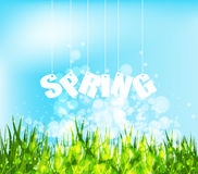 Spring word hanging on a strings background Stock Image