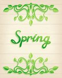 Spring word with leaves composition Stock Image