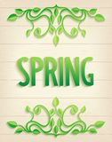 Spring word with leaves composition Royalty Free Stock Photos