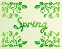 Spring word with leaves composition around Royalty Free Stock Images
