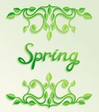 Spring word with leaves composition Stock Photo
