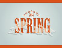 Spring word, ribbon and stars Royalty Free Stock Photography