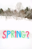 Spring Word Spelled in Snow Stock Image