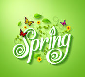 Spring Word Typography Concept in 3D with Flying Butterflies. Plants Vines, Leaves and Flowers Decoration in Green Background. Realistic Vector Illustration Royalty Free Stock Photography
