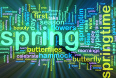 Spring wordcloud glowing Stock Photos