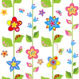Spring wrapping with funny flowers Stock Image