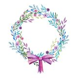 Spring wreath and branches with leaves and flowers. Pink bow Watercolor stock illustration