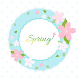 Spring wreath with cherry blossom on white background Royalty Free Stock Photography