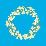 Spring wreath of daffodils and snowdrops on blue background vector illustration