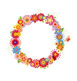 Spring wreath with funny flowers. Spring wreath with funny colorful flowers Stock Illustration