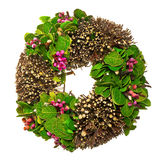 Spring wreath with leaves and berrys Stock Image