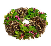 Spring wreath with leaves and berrys. Isolated over white background Stock Image