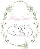 Spring wreath with two cute rabbits. Vintage design for Easter card Royalty Free Stock Images