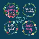 Spring wreaths with text Hello spring, march, April,. Hand drawn spring wreaths with text Hello spring, march, April, may lettering. Spring flowers with branches Royalty Free Stock Photos