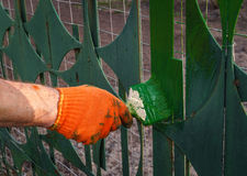 Spring yard work. Updating the paint on the fence. Spring repair in garden. Updating the paint on the fence. Work outdoors Royalty Free Stock Image