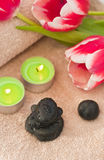 Spring zen-like spa. With fresh tulips Royalty Free Stock Images