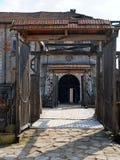 Spring Zolochiv castle bridge gate view (Ukraine) Royalty Free Stock Photo