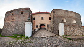 Spring Zolochiv castle bridge gate view (Ukraine) Stock Image