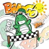 Springa för sköldpadda och för hare Arkivfoton