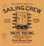 Springa för yacht för Atlantic Ocean seglingbesättning stock illustrationer
