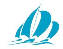 Springa i en yacht royaltyfri illustrationer