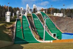 Springboard complex on Mount Long in Nizhny Tagil. Russia Royalty Free Stock Photography