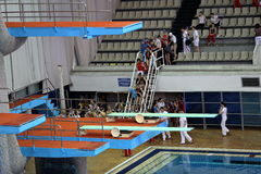 Springboard for jumps in water in sport complex Stock Image