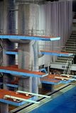 Springboard for jumps in water in sport complex. MOSCOW, RUSSIA - April 1, 2016: Springboard for jumps in water in the Olympic sport complex stock images