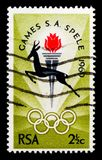 Springbok, Torch and Rings, South African National Games serie, Bloemfontein, circa 1969. MOSCOW, RUSSIA - OCTOBER 1, 2017: A stamp printed in South Africa shows Royalty Free Stock Image