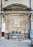 Springbrunn av domkyrkan för århundrade XVII, Siguenza Spanien Royaltyfria Foton