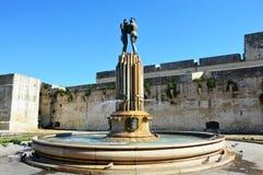 Springbrunn av Harmony Fontana dell` Armonia i Lecce, Italien Arkivfoto
