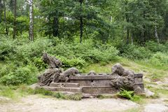 Springbrunn av Jacob, Kuks Forest Sculptures Royaltyfri Foto
